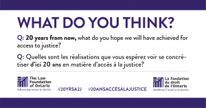 Twenty years from now, what do you hope we will have achieved for access to justice?