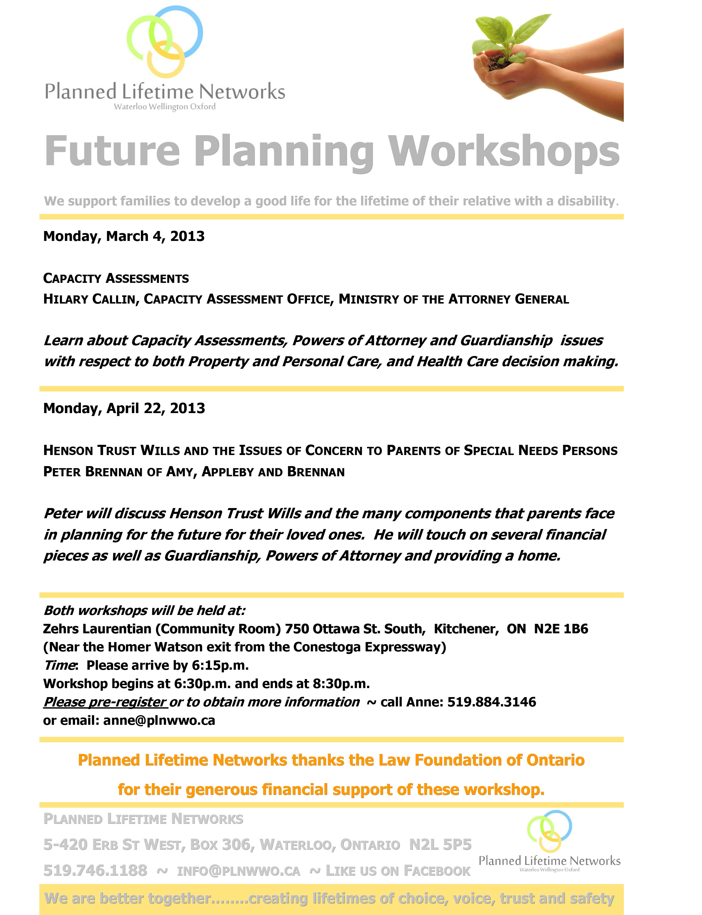 Planned Lifetime Networks flyer - The Law Foundation of Ontario