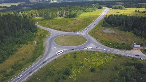 Overhead view of a traffic roundabout in a rural community